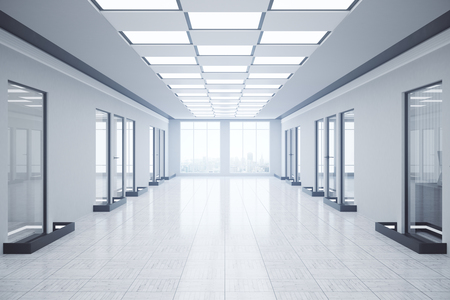 toned: Front view of empty office corridor with city view and daylight. Toned image. 3D Rendering Stock Photo