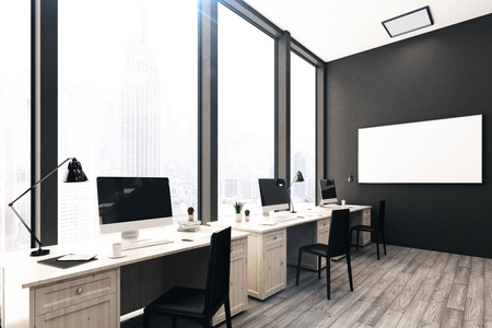 modern office interior: Modern stylish coworking office interior with workplaces, empty poster on wall and city view. Mock up, 3D Rendering