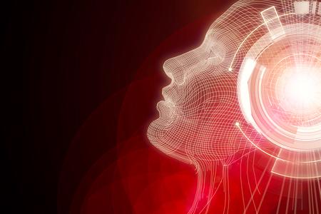 Human/robot with digital red brain. Robotics concept. 3D Rendering