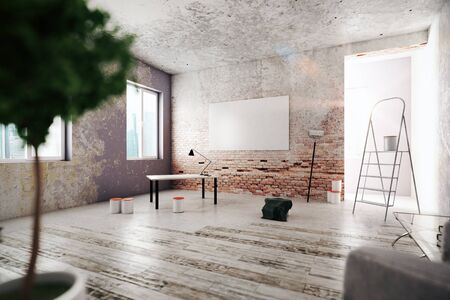 unfinished: Unfinished room with blank poster on wooden table and other items. Repairs concept. 3D Rendering Stock Photo
