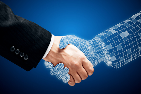 Abstract handshake on blue background. Teamwork and technology concept Stock Photo