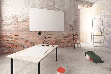 unfinished: Unfinished room interior with blank poster on wooden table and other items. Repairs concept. 3D Rendering