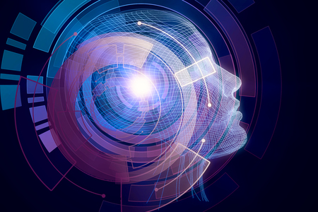 Human/robot with digital purple brain. Robotics concept. 3D Rendering Foto de archivo