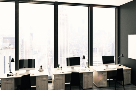 modern office: Dark stylish coworking office interior with workplaces, empty poster on wall and city view. Mock up, 3D Rendering