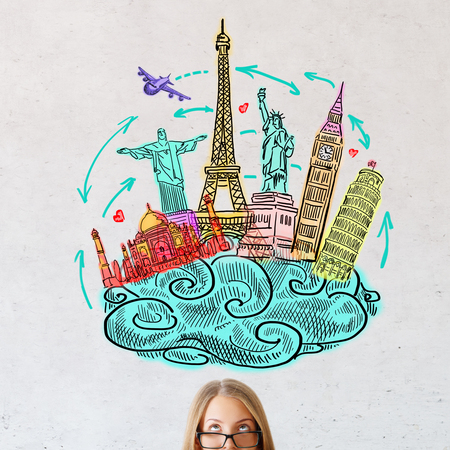 Portrait of attractive young woman on concrete background with travel sketch. Traveling concept