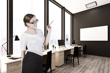 secretary office: Cheerful european female secretary in modern coworking office with empty poster and city view. Mock up, 3D Rendering