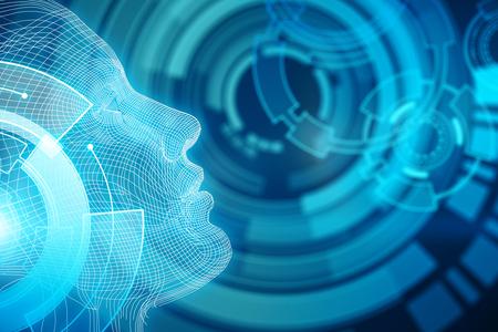 Mensch / Roboter mit digitalem grauem Gehirn. Technologiekonzept 3D-Rendering Standard-Bild - 78507247