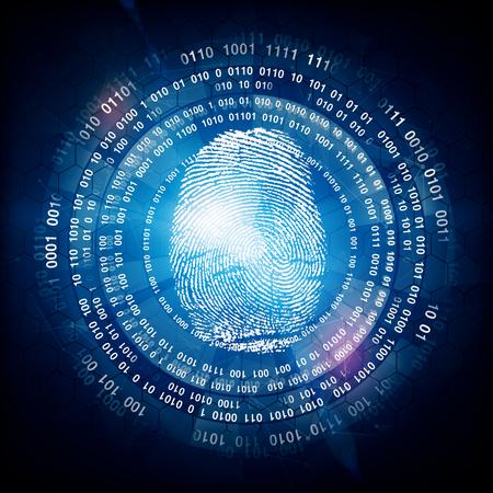 Impronte digitali digitali su sfondo scuro. concetto di identità . Rendering 3D Archivio Fotografico - 78958332