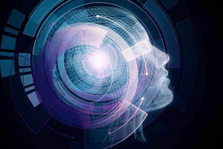 Human/robot with digital colorful brain. Robotics concept. 3D Rendering