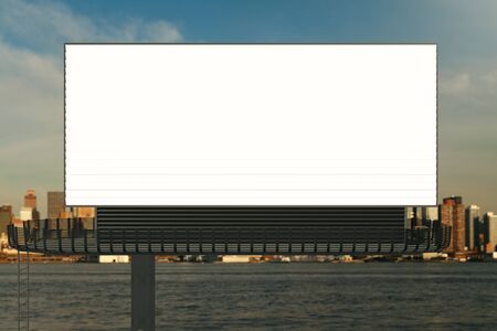 view: Front view of blank signboard on waterfront city background. Commerce concept. Mock up, 3D Rendering