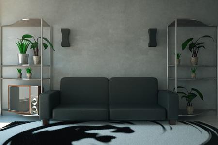 animal print: Vista frontal de la sala de concreto con sofá oscuro, plantas y luces. Representación 3D