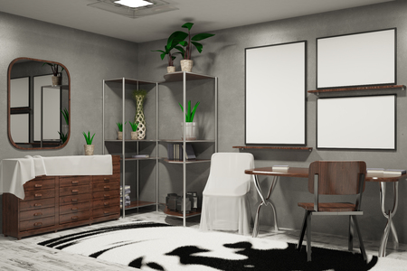 reflection in mirror: Side view of hipster interior with furniture, patterned carpet, empty banners and other objects. Mock up, 3D Rendering Stock Photo