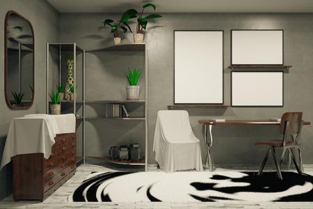 animal print: Vista delantera del interior del hipster con los muebles, la alfombra modelada, las banderas vacías y otros objetos. Mock up, renderizado en 3D