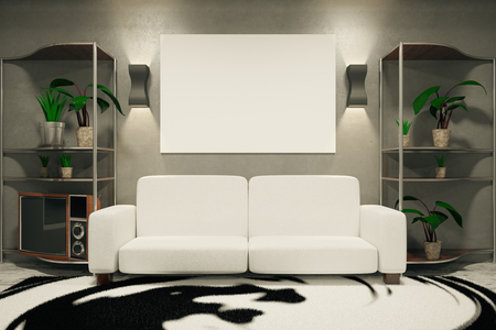 empty: Front view of empty poster, white sofa, plants and patterned carpet in concrete room. Mock up, 3D Rendering