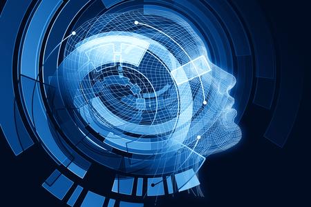 Human/robot with digital blue brain. Robotics concept. 3D Rendering