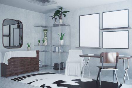 Seitenansicht des konkreten Innenraums mit leeren Bilderrahmen, kopiertem Teppich und Spiegel. Mock-up, 3D-Rendering Standard-Bild - 78958372