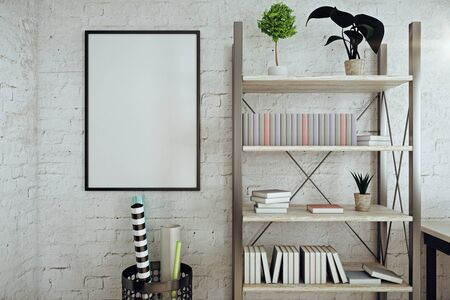 modern interior: Front view of modern white brick interior with empty picture frame, shelves with books, pants and other items. Mock up, 3D Rendering Stock Photo