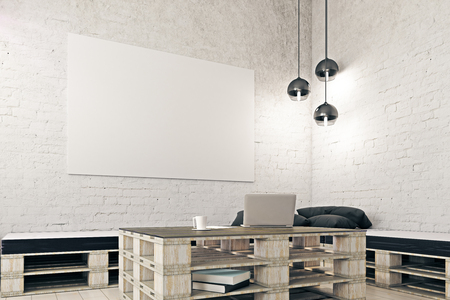 Side view of loft white brick interior with laptop on coffee table, other objects and blank banner. Mock up, 3D Rendering