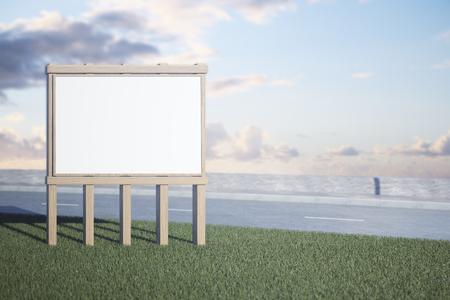 Wooden roadside banner on sky background. Commerce concept. Mock up, 3D Rendering