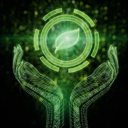 Abstract digital hands holding leaf icon on dark background. 3D Rendering. Environment concept