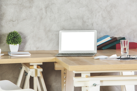 pattern: Front view of empty white laptop on wooden office desktop. Designer workplace. Mock up