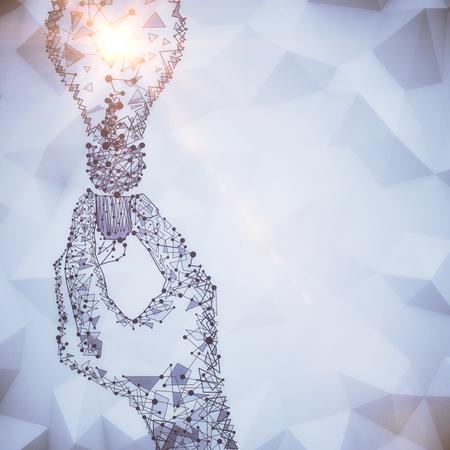 lamp light: Abstract polygonal hand hoding light bulb. Idea concept. 3D Rendering Stock Photo