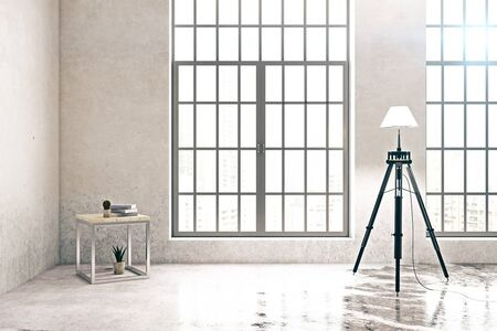 Bright concrete room with panoramic windows, floor lamp and coffee table. 3D Rendering Stock Photo