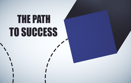 voluminous: Abstract blue cube on light background with text. Path to success concept