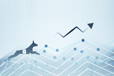 market place: Side view of abstract dog figure running up business charts with arrow. Success concept. 3D Rendering Stock Photo