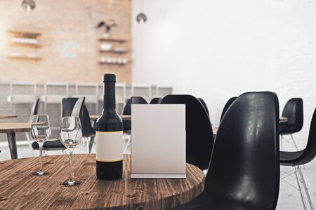 round chairs: Close up of empty paper sheet and wine placed on wooden cafe table. Ad concept. Mock up, 3D Rendering Stock Photo