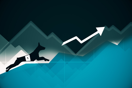bets: Side view of abstract dog figure running up blue business graph with arrow. Success concept. 3D Rendering
