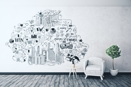 #80426416   Bright Interior With Armchair, Decorative Plants And Business  Sketch On Concrete Wall. Success Concept. 3D Rendering