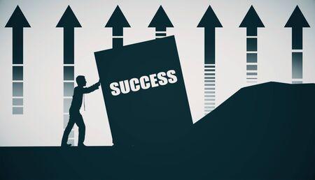 upward struggle: Side view of male figure pushing success block. Hard work concept