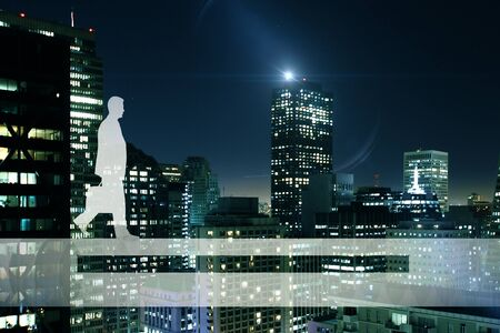 Side view of businessman silhouette walking on abstract bridge. Night city background. Balancing concept