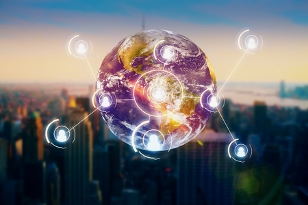 Abstract globe with people icons on city background. Recruiting concept. Elements of this image furnished by NASA