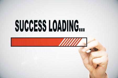 technology symbols metaphors: Hand drawing loading success bar on light background