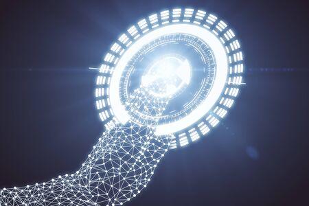 Abstrakte polygonale Hand drücken digitale Taste auf dunklem Hintergrund. Technologiekonzept 3D-Rendering