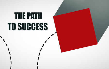 voluminous: Abstract red cube on light background with text. Path to success concept Stock Photo