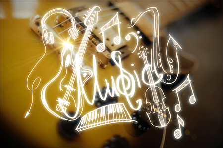 Close up of electric guitar with creative sketch. Concert concept