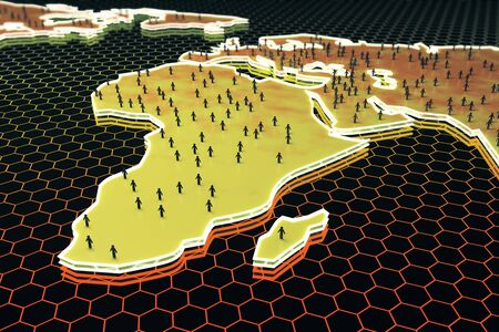 mesh: Abstract map with small peoplebusinessmen figures on honeycombhexagon patterned background. Networking concept. 3D Rendering Stock Photo