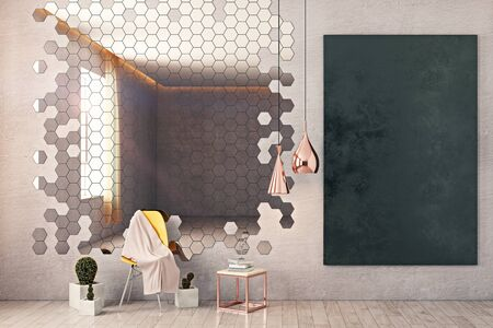 hang up: Front view of room with honeycomb patterned mirror, chair, decorative plants, chalkboard on wall and other items. Mock up, 3D Rendering