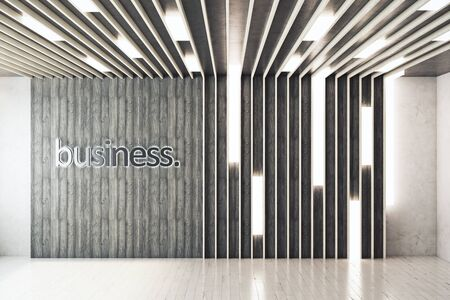 modern interior: Contemporary interior with writings on wall. Business concept. 3D Rendering
