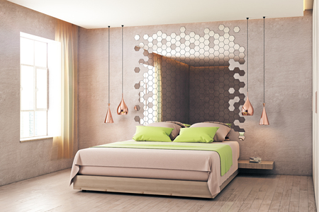 abstract backgrounds: Creative bedroom interior with furniture, hexagonal mirror and window with sunlight. 3D Rendering