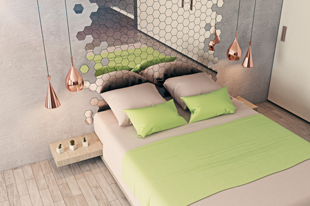 reflection in mirror: Futuristic bedroom interior with furniture, honeycomb patterned mirror and other creative items. 3D Rendering