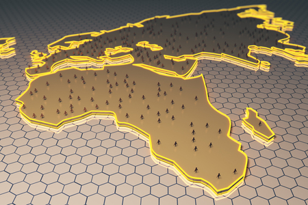 mesh: Abstract map with small peoplebusinessmen figures on honeycombhexagon patterned background. Network concept. 3D Rendering