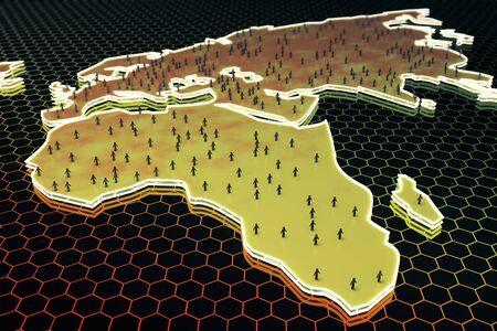 Abstract map with small peoplebusinessmen figures on honeycombhexagon patterned background. Population concept. 3D Rendering Stock Photo