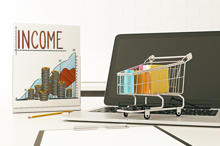 sheet of paper: Close up of blank laptop, shopping cart and business chart on poster. Sales concept. 3D Rendering