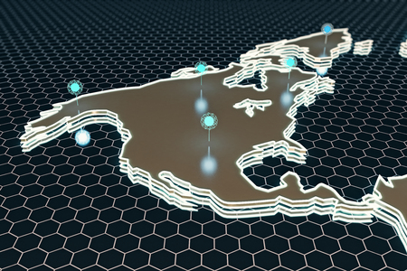 mesh: Abstract digital map with illuminated points on dark honeycomb background. Technology concept. 3D Rendering