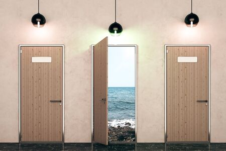 front view: Three wooden doors with beach view and illuminated lamps in concrete interior. Heaven concept. 3D Rendering Stock Photo