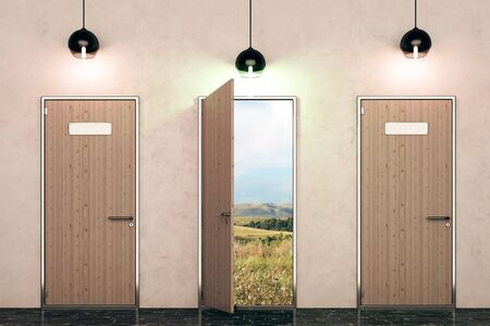 front view: Three wooden doors with landscape view and illuminated lamps in concrete interior. Paradise concept. 3D Rendering